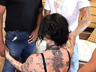 Tattooed Hooker With Faux Tits Megan Inky Gets Dual Penetrated And Jizzed