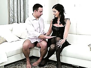 Dark Haired Milky Cougar In Black Stockings Likes Pussy Eating On The Sofa