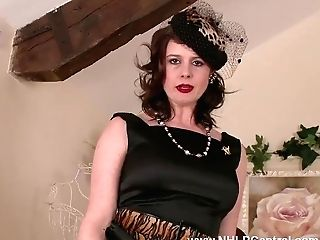 Hot Cougar Karina Currie Whips Off Black Underpants And Faux-cocks Tool To Orgasm In Stockings And Suspenders