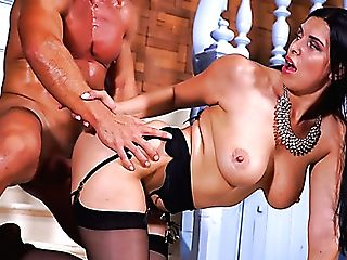 Huge-chested Suntanned Sexpot Kira Queen Is Fucked In Standing Pose Well