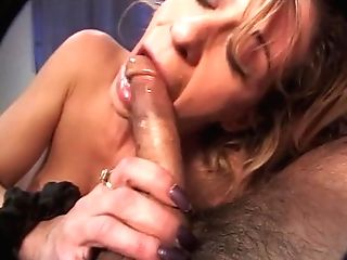Pretty Blonde Gives An Awesome Oral Job On The Sofa
