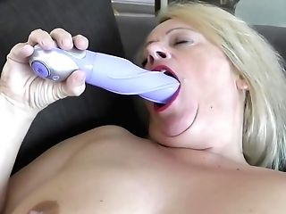 Brit Granny With Blonde Hair, Ann Is Squeezing Her Big Breasts And Playing Her Soaking Moist Muff