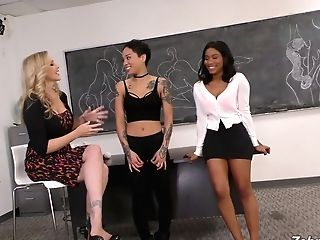 Girl-on-girl Instructor Julia Ann Finger Fucks Two Sexy School Chicks