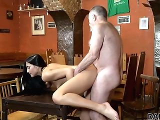 Daddy4k. Old Holder Of Bar Sates Needs Together With Sonny's Hot Gf