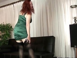 Good Looking Housewife Took Off Her Clothes And Pantyhose, To Demonstrate Us Her Onanism Routine