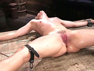 Exotic Dude Faux-cock Fucks Opened Up Twat Of Crucified On The Floor Bitch Helena Locke