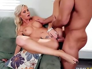 On The Couch, Astrid Starlet And Johnny Castle In Buxomy Blonde Rails Stiffy After A Mouth Jamming