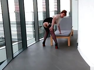 Red-haired Office Bitch Plays With Her Crimson Cunt
