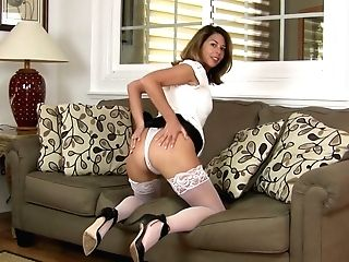 Sizzling Housewife In Milky Stockings Niki Is Playing With Her Thirsty Cunt
